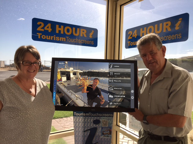 Wendy White with Richard at Robe Visitor Information Centre